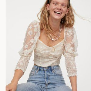 Dreamy Cream Lace Puff Sleeve Blouse Small